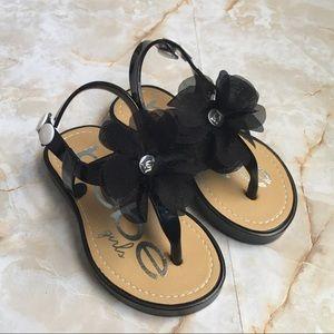 Bebe Black Patent Sandal for Toddler Girl 7/8